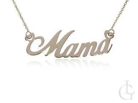 Mama złoty naszyjnik celebrytka łańcuszek pr.0,585 z napisem na prezent