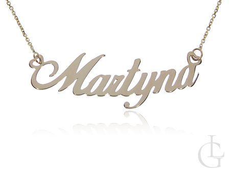 Martyna złota celebrytka pr.0,585 naszyjnik z imieniem łańcuszek z napisem