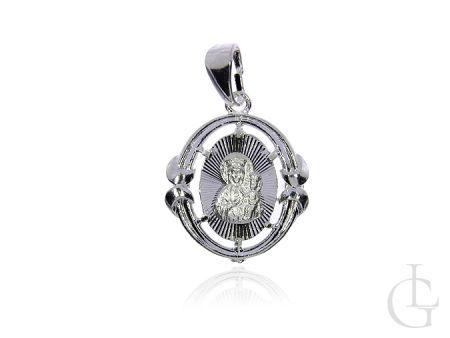 Medalik ze srebra pr.0,925 z Matką Boską Częstochowską i Dzieciątkiem Jezus