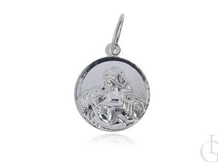 Okrągły medalik ze srebra pr.0,925 z wizerunkiem Matki Bożej Karmiącej