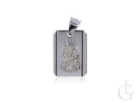 Prostokątny medalik ze srebra rodowanego pr.0,925 z Matką Bożą i Dzieciątkiem Jezus