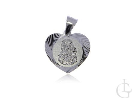 Medalik ze srebra rodowanego pr.0,925 serduszko z Matką Bożą i Dzieciątkiem Jezus