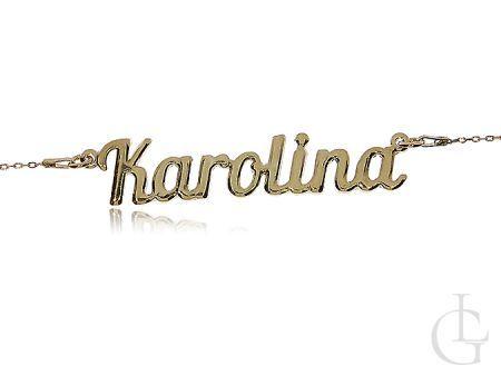 Karolina naszyjnik damski srebrny pozłacany z imieniem
