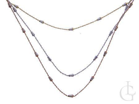 Naszyjnik potrójny srebro rodowane i pozłacane pr.0,925