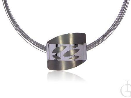 Naszyjnik kolia ze srebra rodowanego pr.0,925 i tytanu