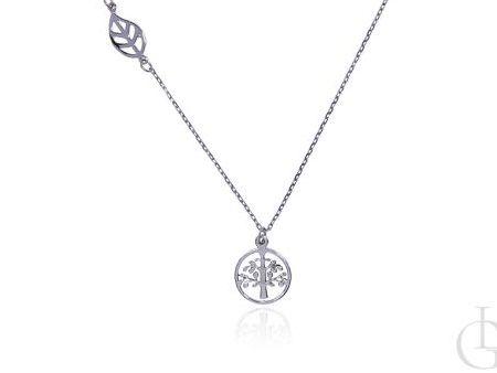 Celebrytka łańcuszek naszyjnik ze srebra rodowanego pr.0,925 drzewko szczęścia listek