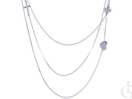 Potrójny łańcuszek celebrytka naszyjnik ze srebra rodowanego krzyżyk serduszko koniczyna
