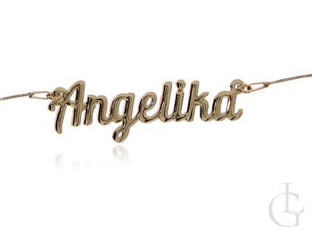 Angelika naszyjnik srebrny pozłacany z imieniem