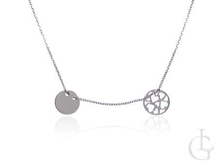 Naszyjnik łańcuszkowy celebrytka srebro rodowane pr.0,925 z kółeczkami
