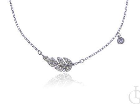 Naszyjnik celebrytka łańcuszek srebro rodowane pr.0,925 z liściem