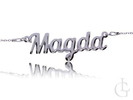 Magda srebrny naszyjnik łańcuszek damski z imieniem