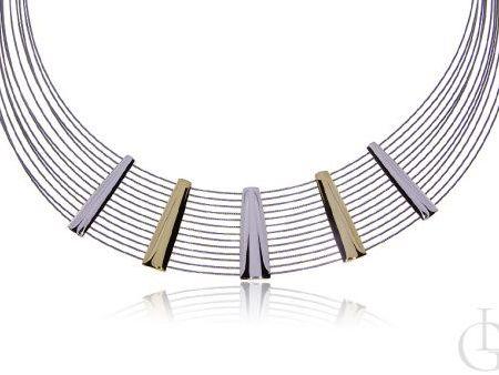 Naszyjnik kolia żyłkowa ze srebra pr.0,925 i stali szlachetnej