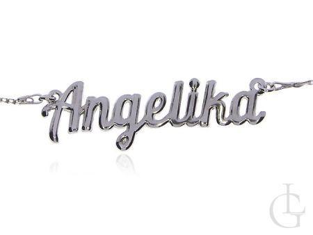 Angelika srebrny łańcuszek naszyjnik damski z imieniem
