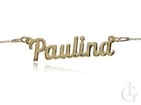 Paulina srebrny naszyjnik łańcuszek pozłacany z imieniem