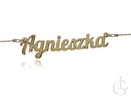 Agnieszka pozłacany naszyjnik celebrytka srebro pr.0,925