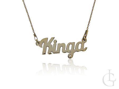 Naszyjnik z imieniem KINGA srebrny pozłacany model