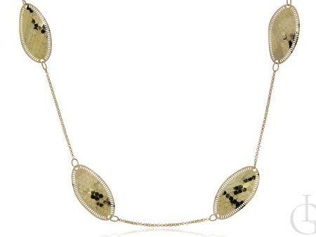 Długi naszyjnik ze srebra pozłacanego pr.0,925 z diamentowaniem