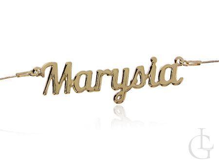 Marysia srebrny pozłacany łańcuszek naszyjnik z imieniem