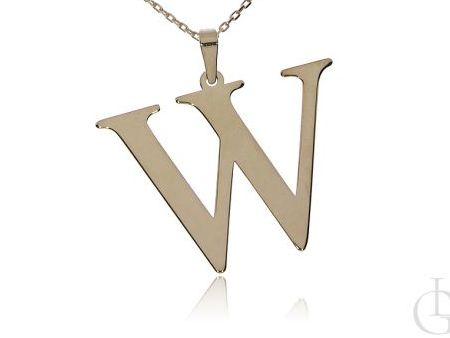 W jak Wiktoria, Wioletta, Weronika naszyjnik z literką, celebrytka, łańcuszek z literą srebro pozłacane pr.0,925