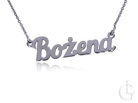 Bożena naszyjnik celebrytka ze srebra rodowanego pr.0,925 z imieniem