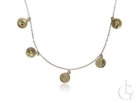 Złoty naszyjnik pr.0,585 celebrytka, choker z przywieszkami w postaci starożytnych rzymskich monet