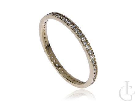 Złoty pierścionek obrączka pr.0,585 z klasycznymi cyrkoniami