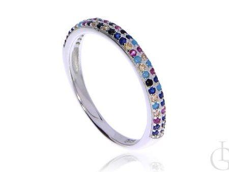 Delikatny pierścionek obrączka ze srebra rodowanego pr.0,925 z kolorowymi cyrkoniami