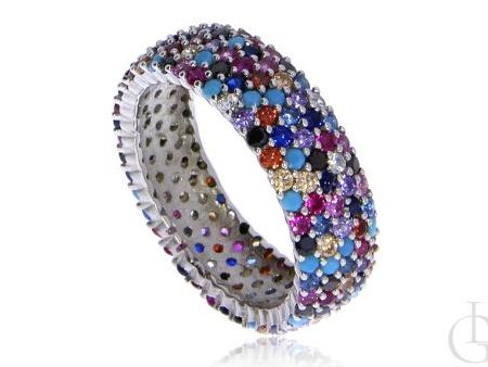 Cudowna obrączka pierścionek ze srebra pr.0,925 cyrkonie MULTICOLOR