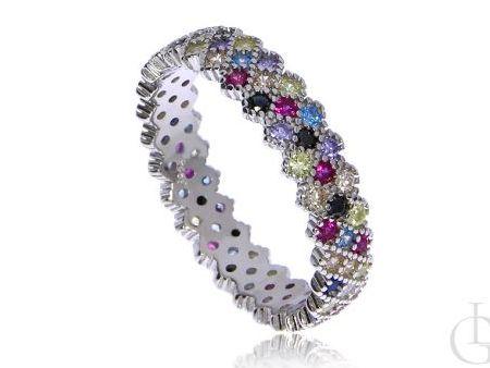 Modna obrączka pierścionek ze srebra pr.0,925 cyrkonie MULTICOLOR