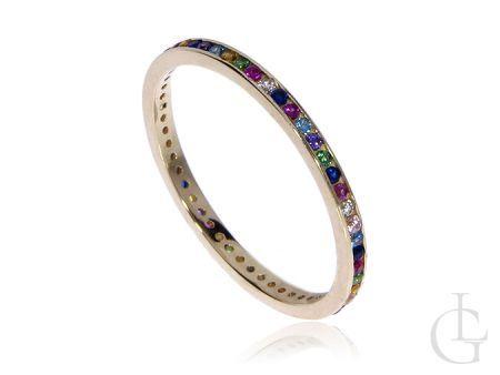 Złoty pierścionek obrączka pr.0,585 z kolorowymi cyrkoniami