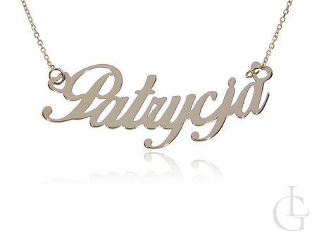 Patrycja złoty łańcuszek pr.0,585 z napisem  celebrytka naszyjnik z imieniem prezent