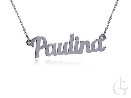 Naszyjnik łańcuszek celebrytka srebro rodowane pr.0,925 z imieniem PAULINA prezent