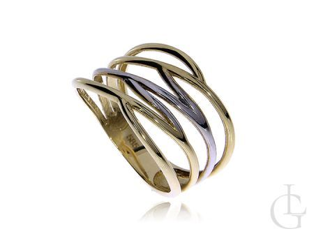 Pierścionek obrączka z klasycznego i białego złota pr.0,585