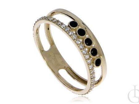 Pierścionek obrączka ze złota pr.0,585 z białymi i czarnymi cyrkoniami