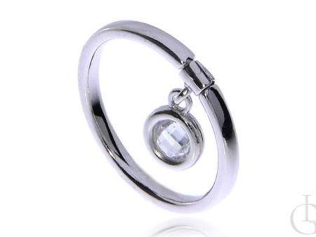 Pierścionek obrączka ze srebra pr.0,925 z wiszącą cyrkonią