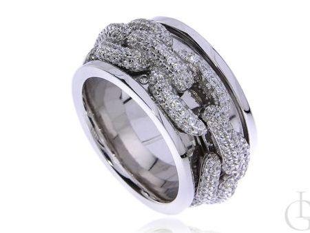 Szeroki pierścionek obrączka ze srebra rodowanego pr.0,925 z plecionym warkoczem z cyrkoniami