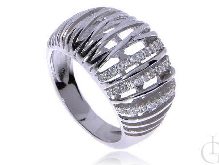 Pierścionek obrączka ze srebra rodowanego pr.0,925 z cyrkoniami