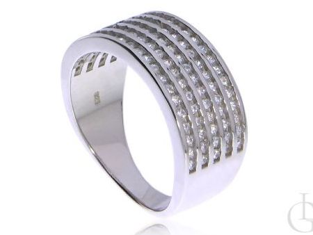 Szeroka obrączka pierścionek srebro rodowane pr.0,925 z cyrkoniami