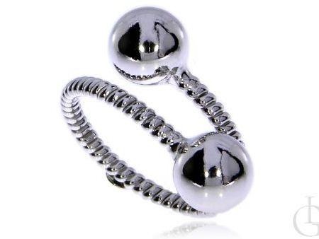 Pierścionek ze srebra rodowanego pr.0,925 z kulkami