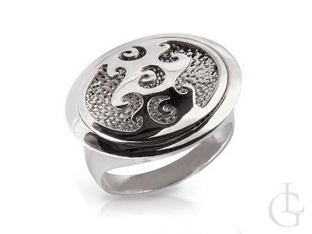 Srebrny pierścionek z pięknym dużym wzorem oka