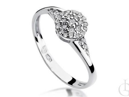 Pierścionek zaręczynowy z białego złota pr.0,585 z diamentami