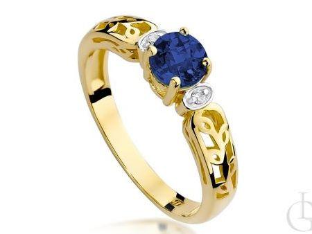 Złoty pierścionek zaręczynowy z brylantami i szafirem