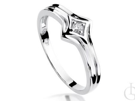 Pierścionek na zaręczyny z białego złota pr.0,585 z diamentem