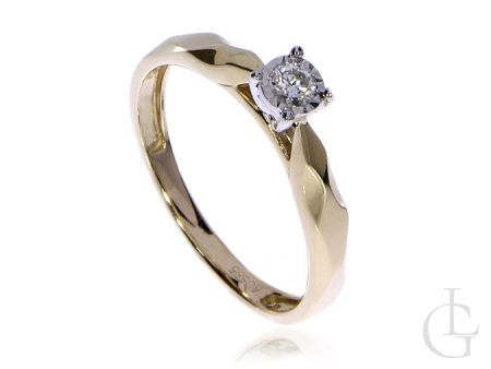 Złoty pierścionek zaręczynowy pr.0,585 z brylantem