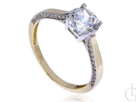 Piękny pierścionek zaręczynowy z cyrkoniami złoto pr.0,585