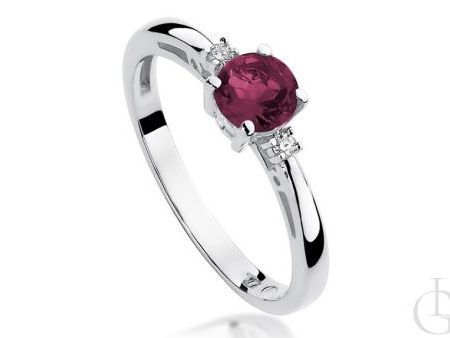 Pierścionek zaręczynowy z rubinem i brylantami
