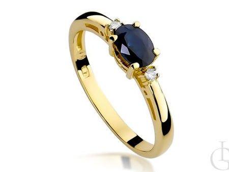 Pierścionek zaręczynowy z szafirem i brylantami