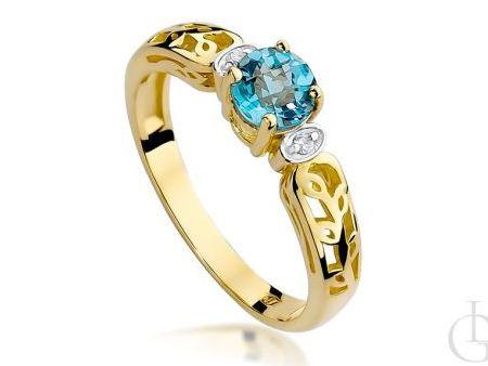 Złoty pierścionek z brylantami i topazem