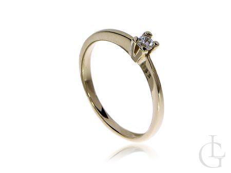 Klasyczny pierścionek ze złota pr.0,585 na zaręczyny z cyrkonią
