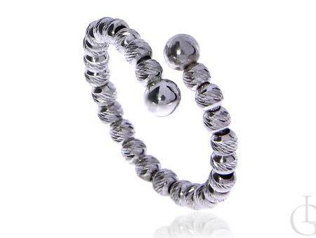 Ciekawy pierścionek ze srebra rodowanego pr5.0,925 cały z diamentowanych kulek